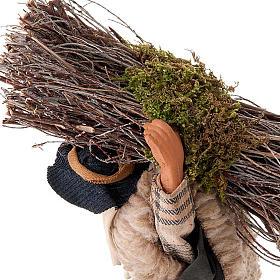 Leñador con madera 14 cm s2