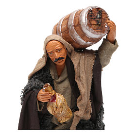 Nativity set accessory Man with barrel and flask 14 cm figurine s2
