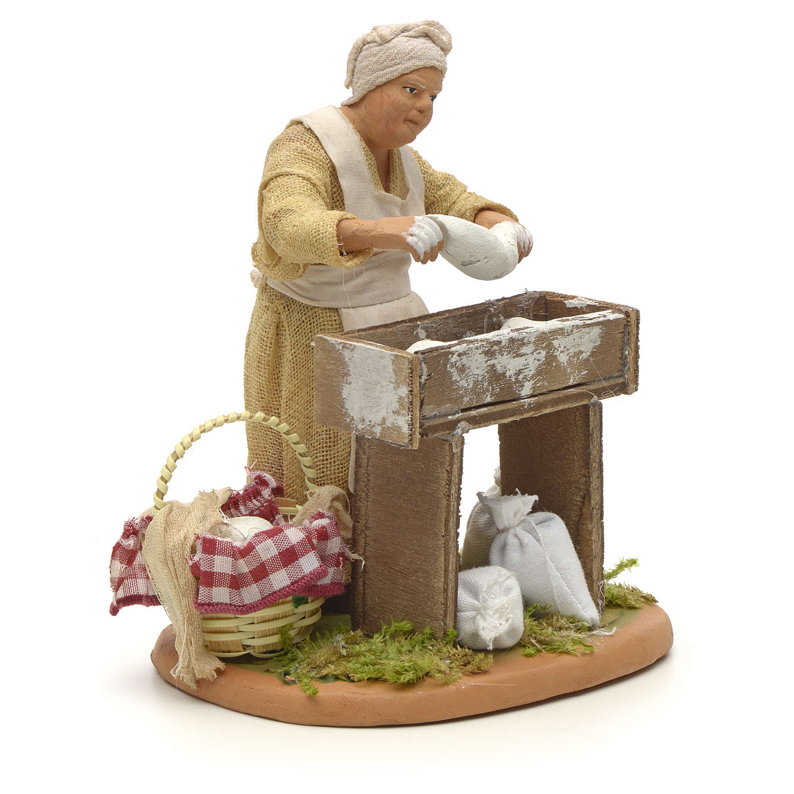 Nativity set accessory woman making bread 14 cm figurine 4