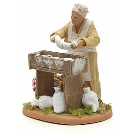 Nativity set accessory woman making bread 14 cm figurine s2