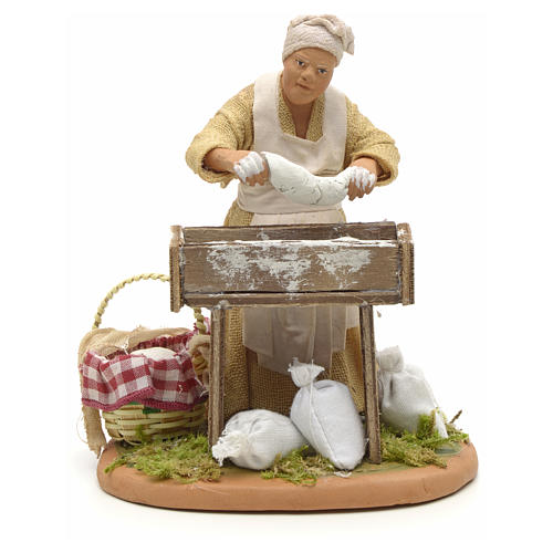 Nativity set accessory woman making bread 14 cm figurine 1