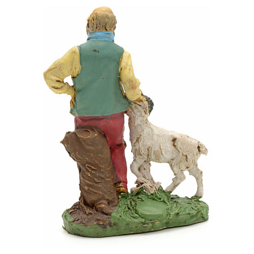 Nativity scene figurine, shepherd with sheep 10cm 2