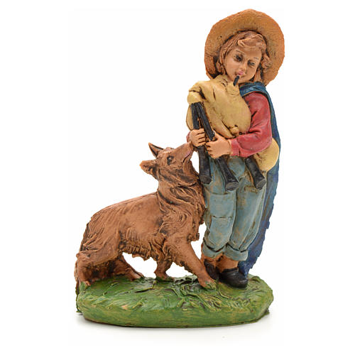 Nativity set figurine, shepher with dog and pipe 10cm 1