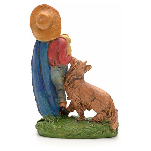 Nativity set figurine, shepher with dog and pipe 10cm 2