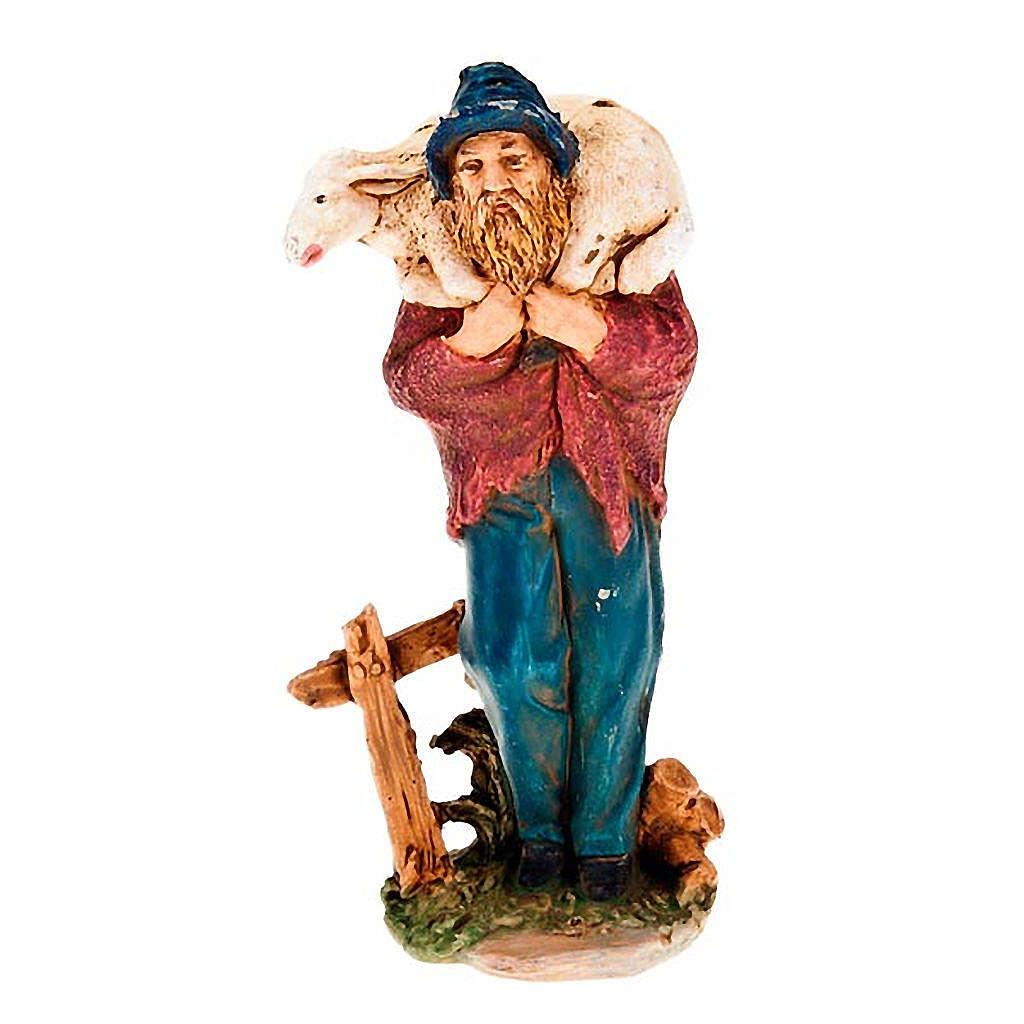 Pastore con pecora sulle spalle 13 cm 3