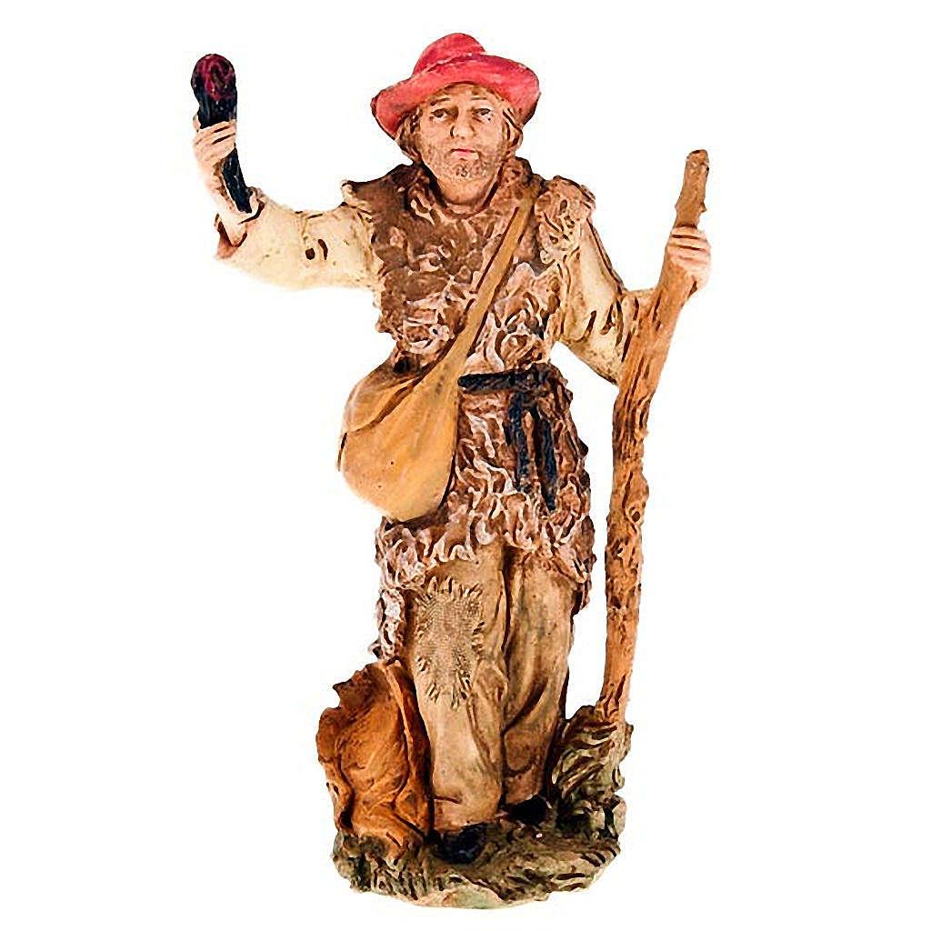 Pastore con fiaccola e bastone 13 cm 3