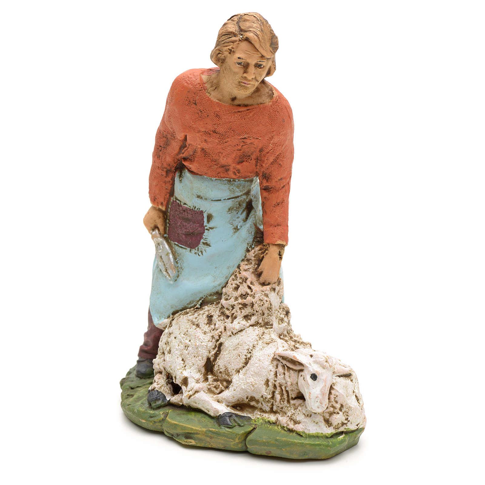 Nativity scene figurine, shearer with sheep 13cm 3