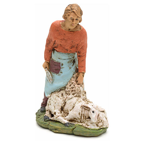 Nativity scene figurine, shearer with sheep 13cm 1