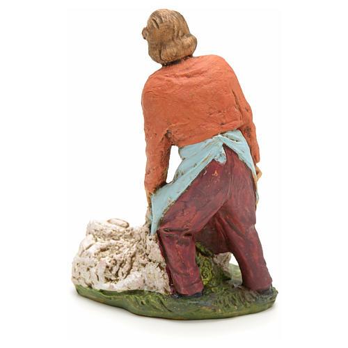 Nativity scene figurine, shearer with sheep 13cm 2