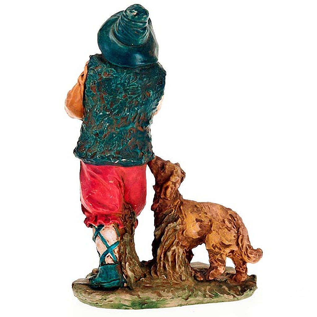 Zampognaro con cane per presepe 13 cm 3