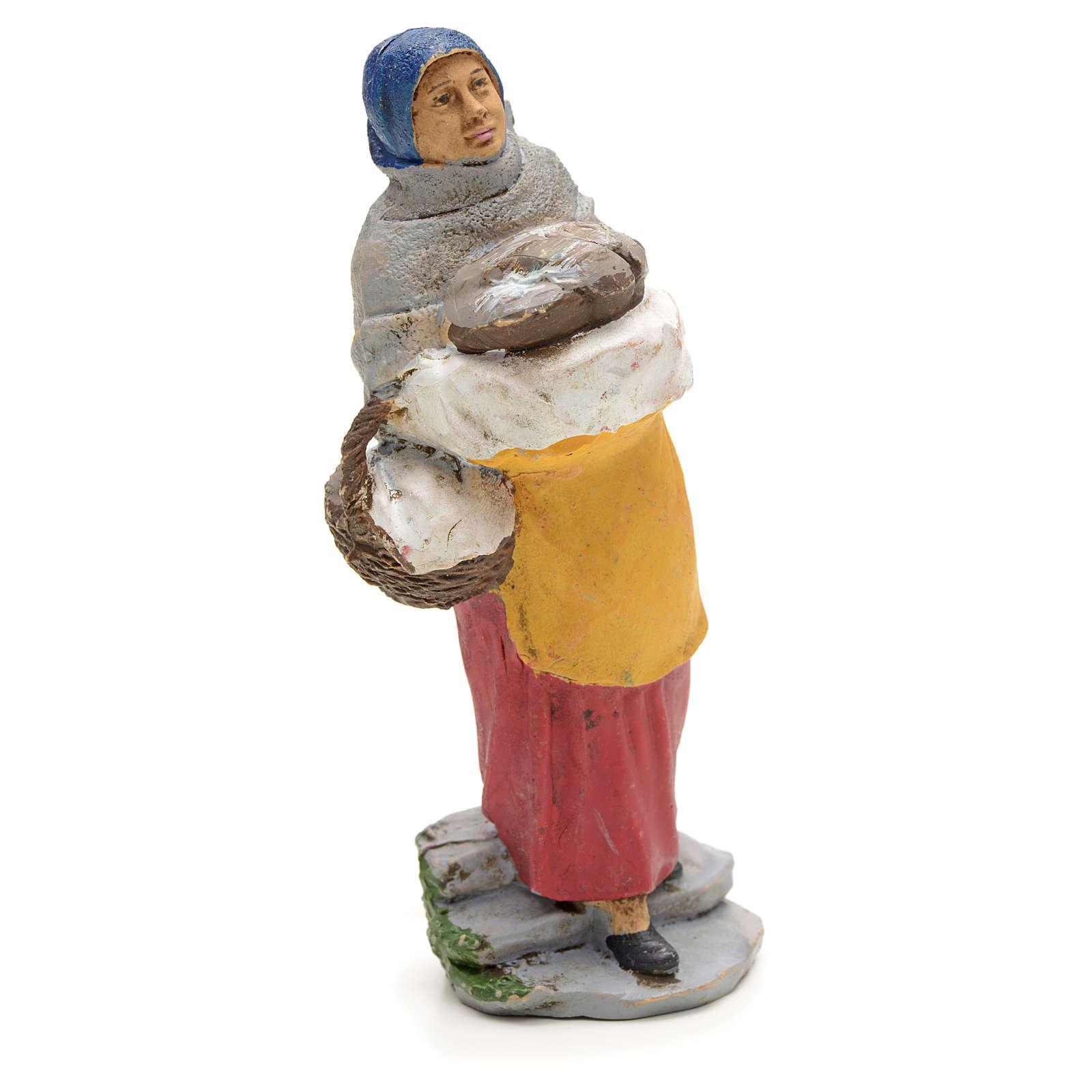 Donna con pane nel cesto 13 cm 3