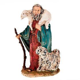 Pastore pecora sulle spalle e cane 13 cm s1