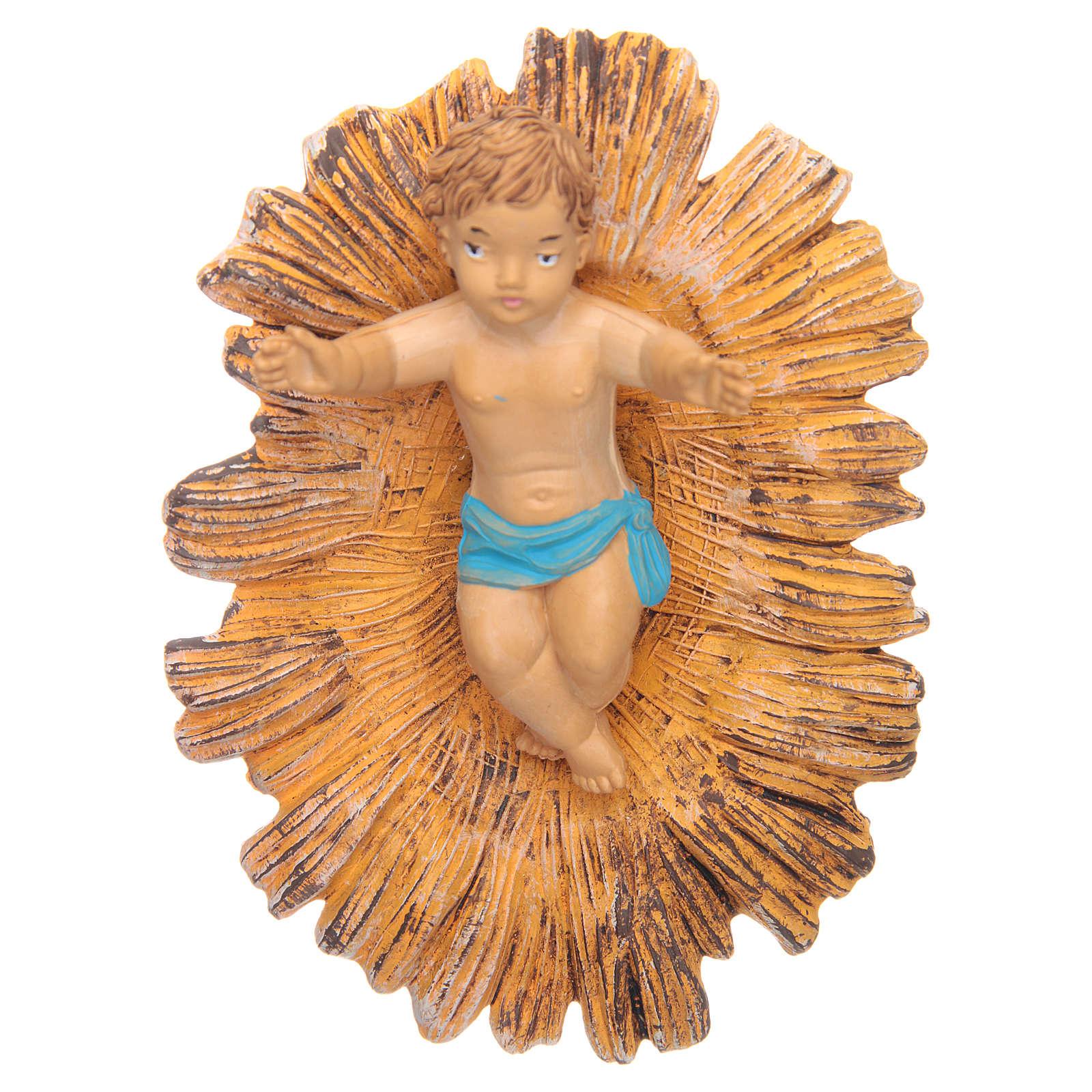 Petit Jésus dans sa crèche dorée 18 cm 3