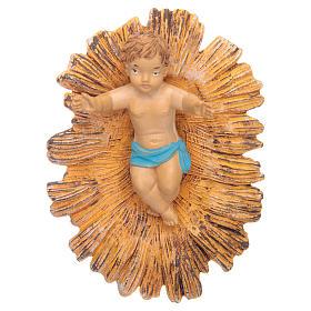 Petit Jésus dans sa crèche dorée 18 cm s1