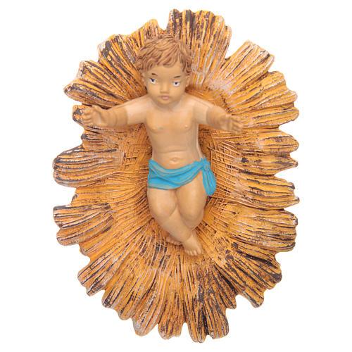 Petit Jésus dans sa crèche dorée 18 cm 1