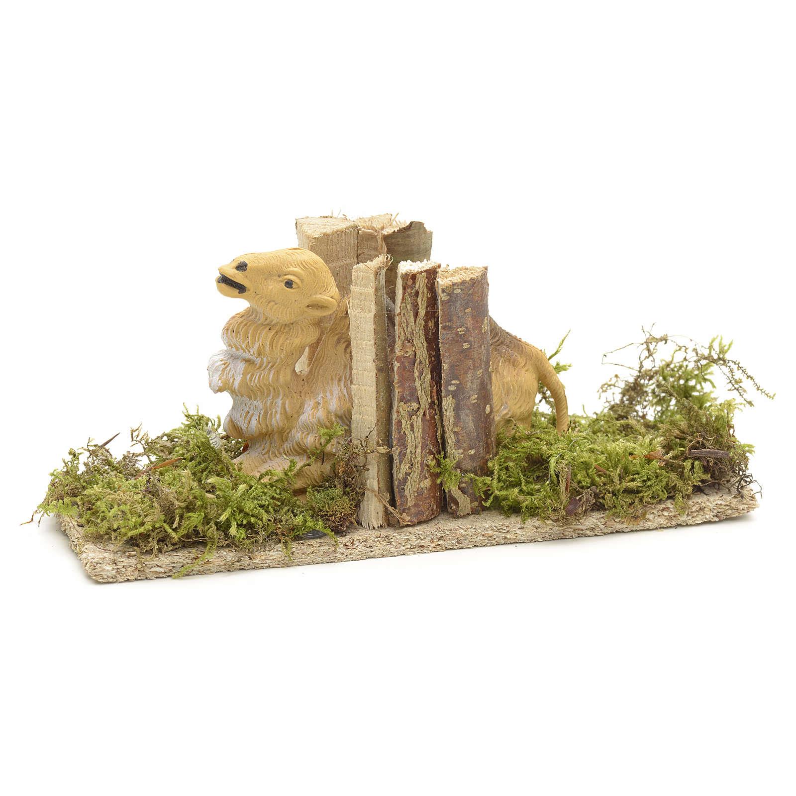 Cammello seduto con carico di legna cm 10 3