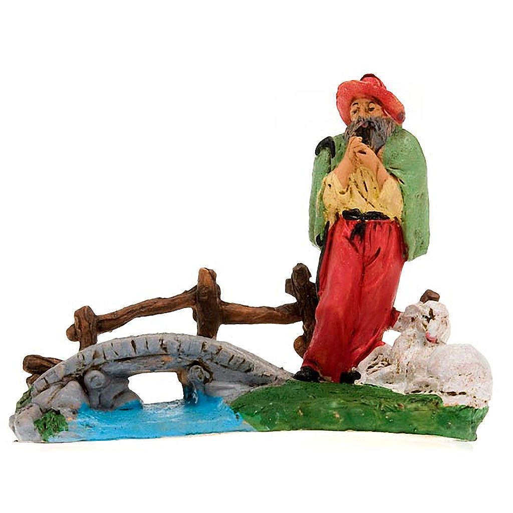 Pastore con pecorella su ponticello cm 10 3