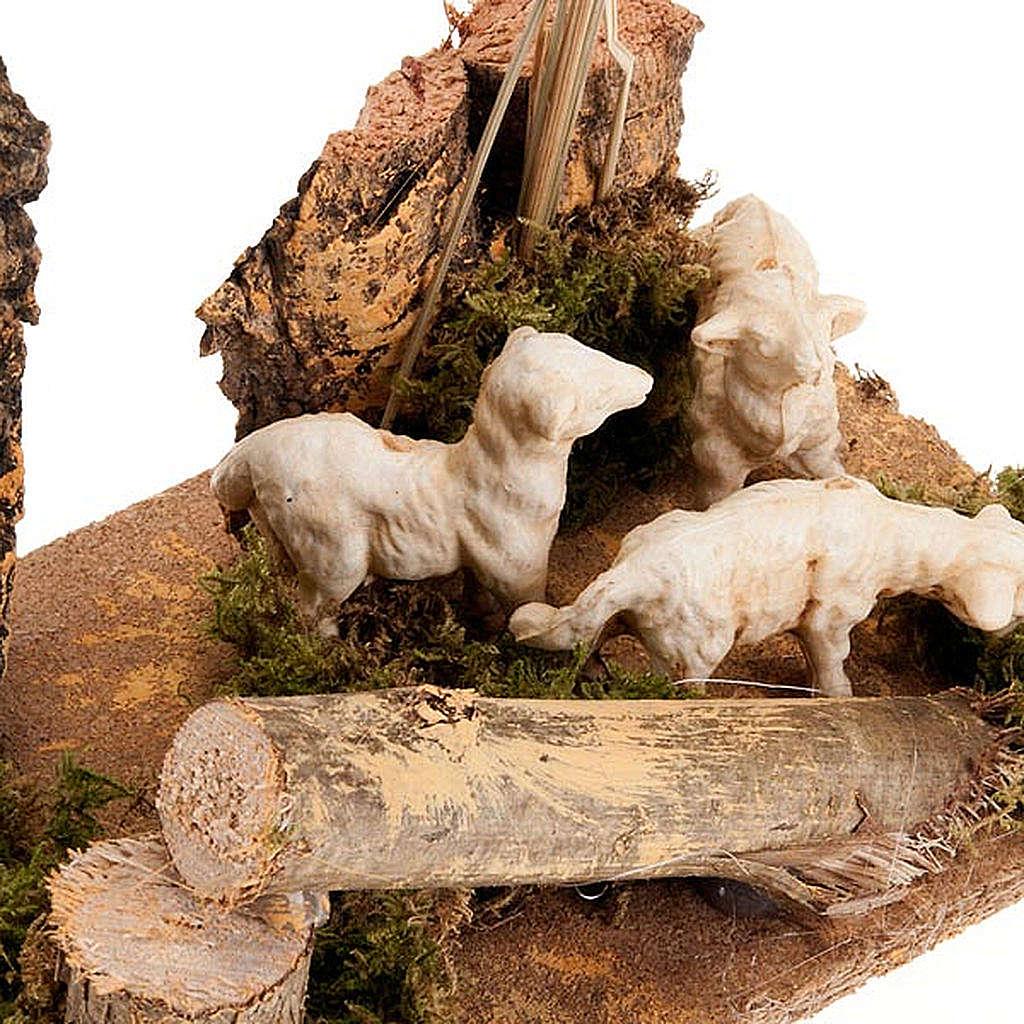 Pecorelle e piante ambientazione presepe 8-10 cm 3