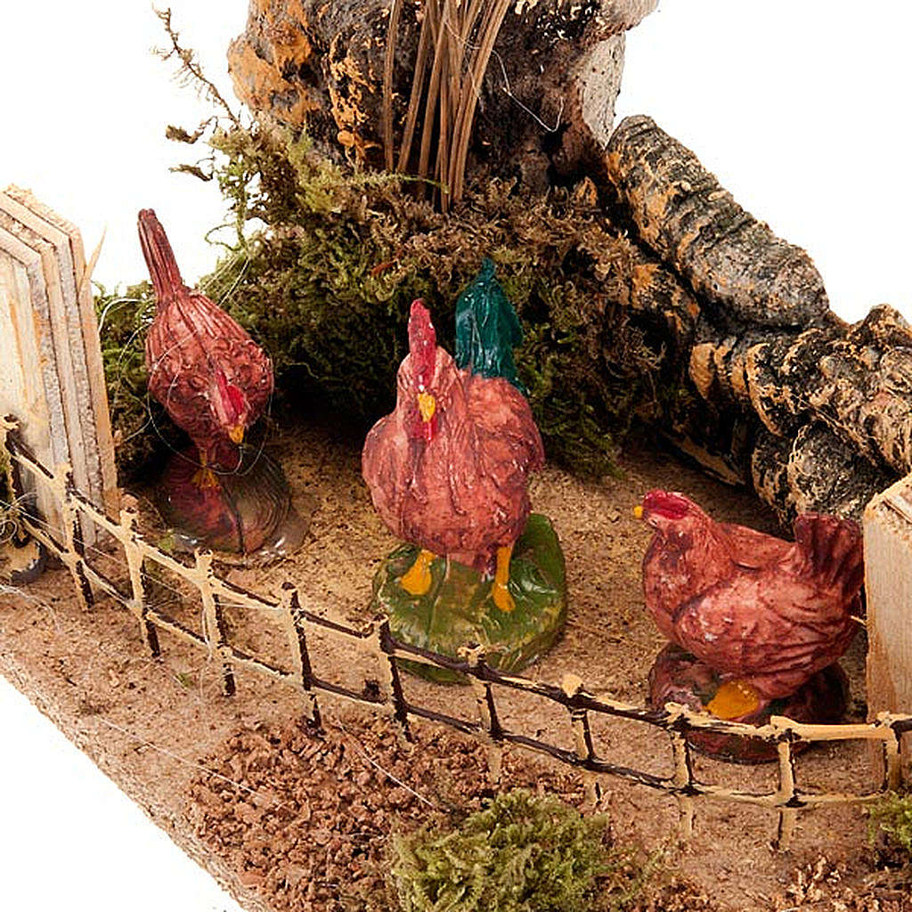 Nativity setting, chickens in a fence