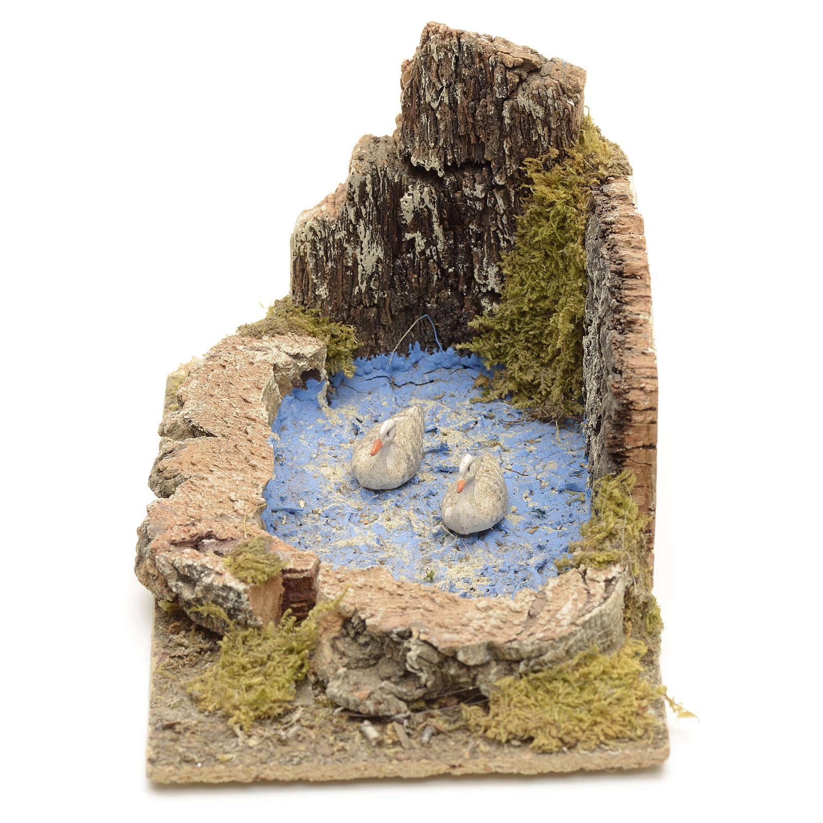 Oche e pulcini nel laghetto ambientazione presepe 8-10 cm 3