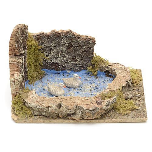 Oche e pulcini nel laghetto ambientazione presepe 8-10 cm 1