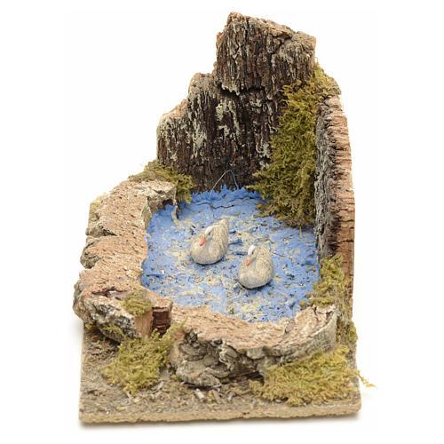 Oche e pulcini nel laghetto ambientazione presepe 8-10 cm 2