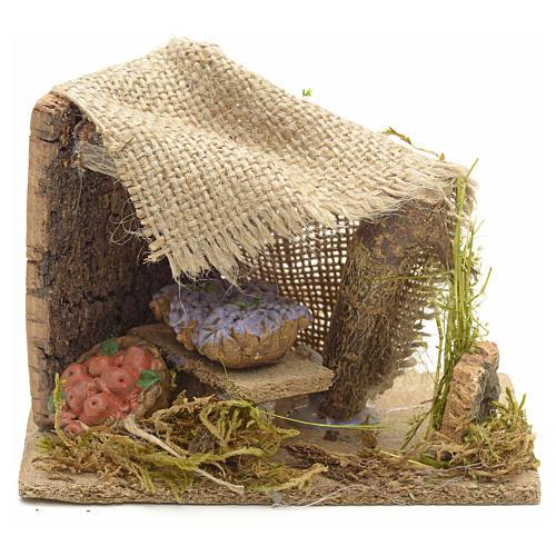 Banchetto di verdure con tenda ambientazione presepe 1