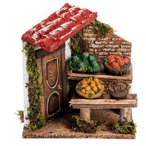 Banchetto di frutta e damigiana con portico e porta presepe 1