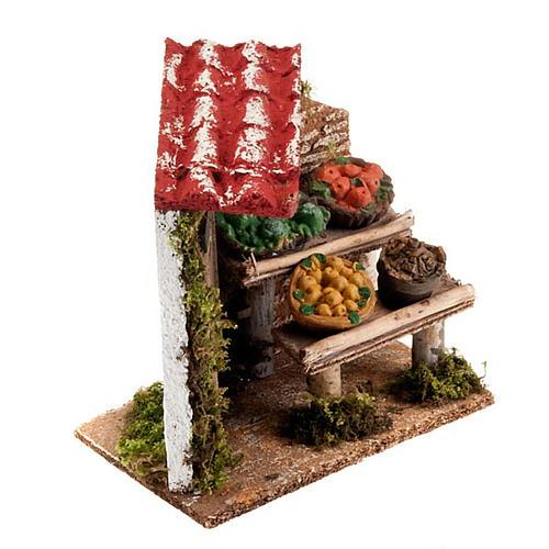 Banchetto di frutta e damigiana con portico e porta presepe 2
