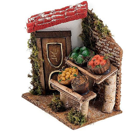 Banchetto di frutta e damigiana con portico e porta presepe 3