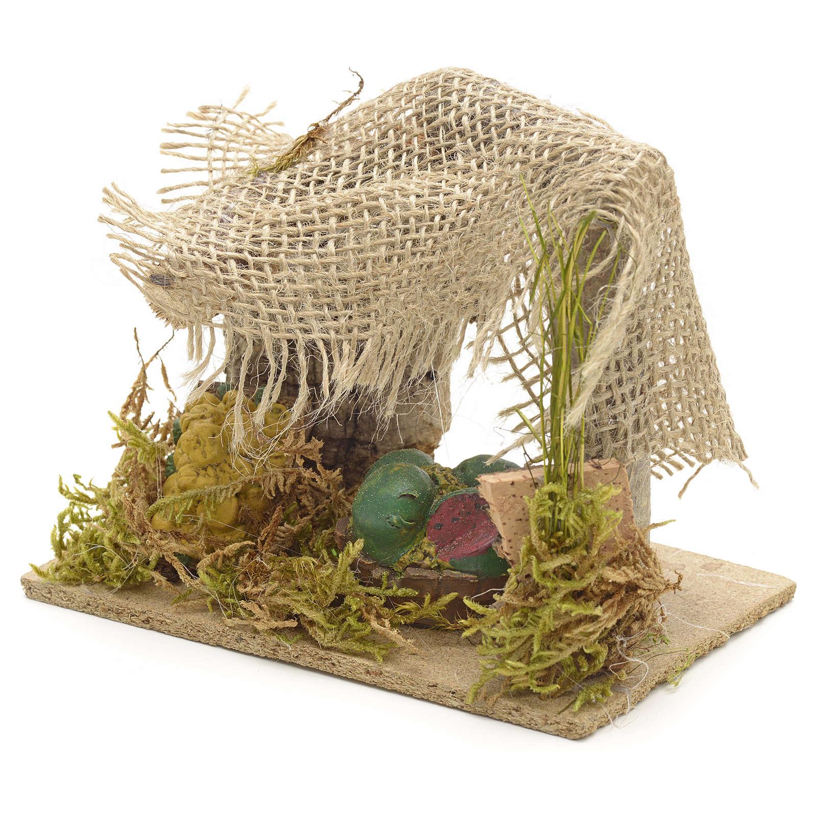 Banchetto di frutta con tenda e piante presepe 4