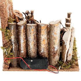 Fuoco presepe a batteria  ambientazione con palizzata 15X15X15 s4