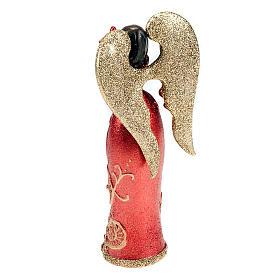 Angelo in resina colomba in mano glitter rosso oro s2