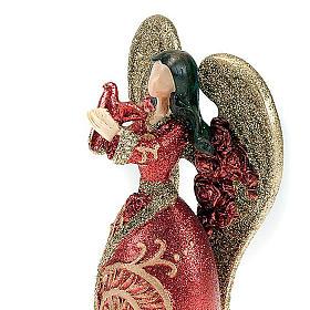 Angelo in resina colomba in mano glitter rosso oro s3