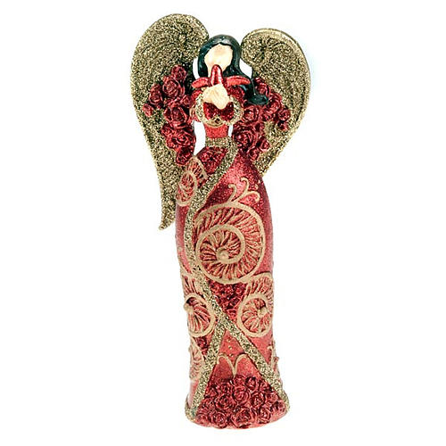 Angelo in resina colomba in mano glitter rosso oro 1