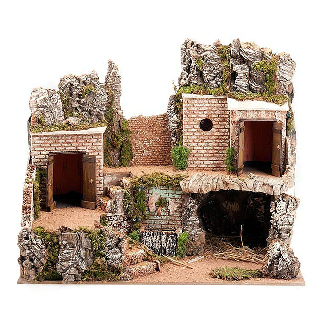 Grotta presepe e borgo con case su 3 livelli 60X40X50 4