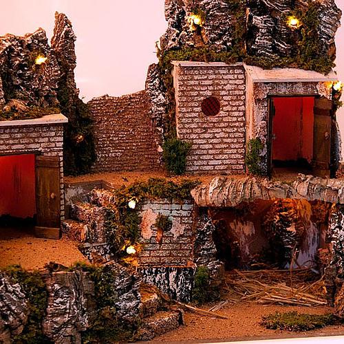Grotta presepe e borgo con case su 3 livelli 60X40X50 2