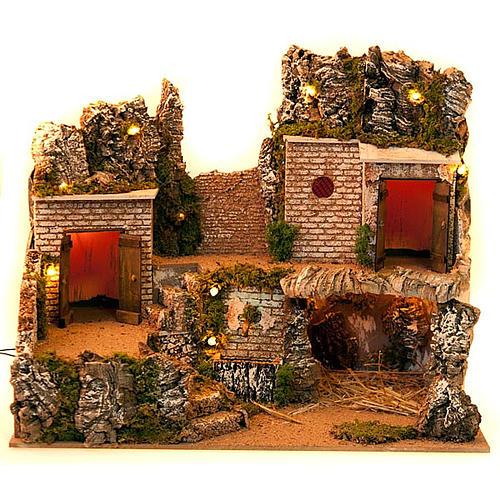 Grotta presepe e borgo con case su 3 livelli 60X40X50 3