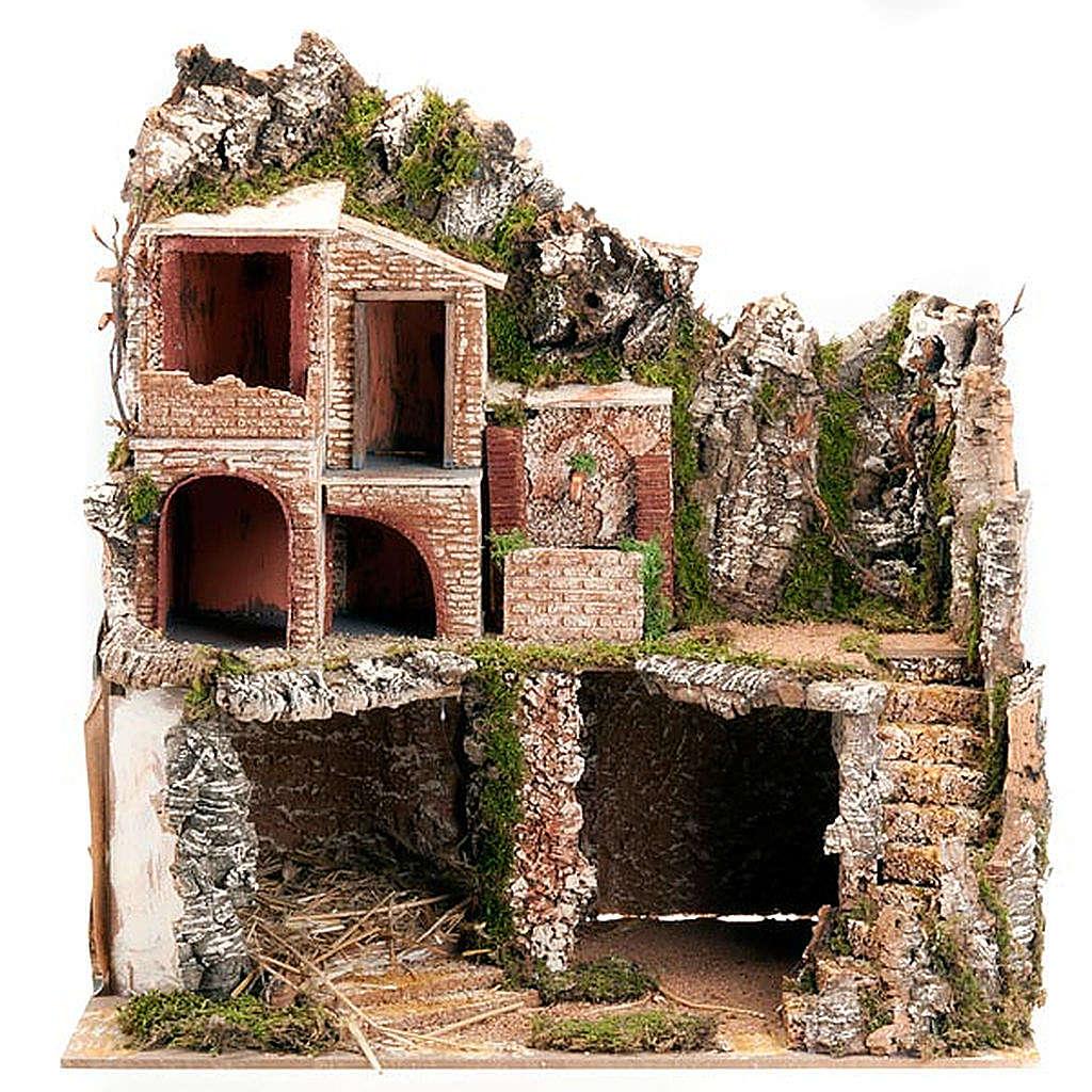 STOCK Grotta per presepe, fontana e borgo 60X40X50 4