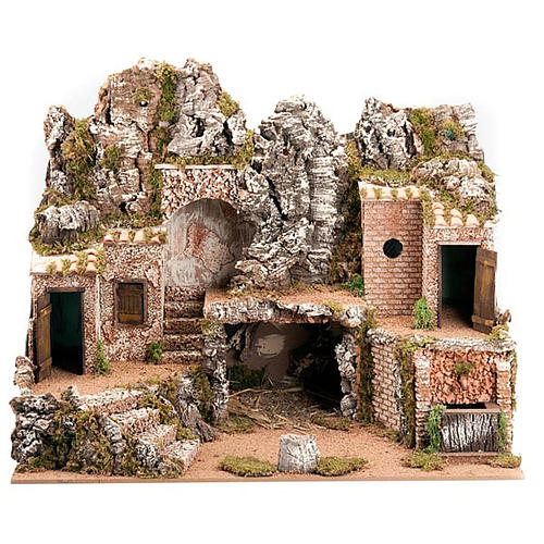 Grotta per presepe: borgo e fontana 60x40x50 1
