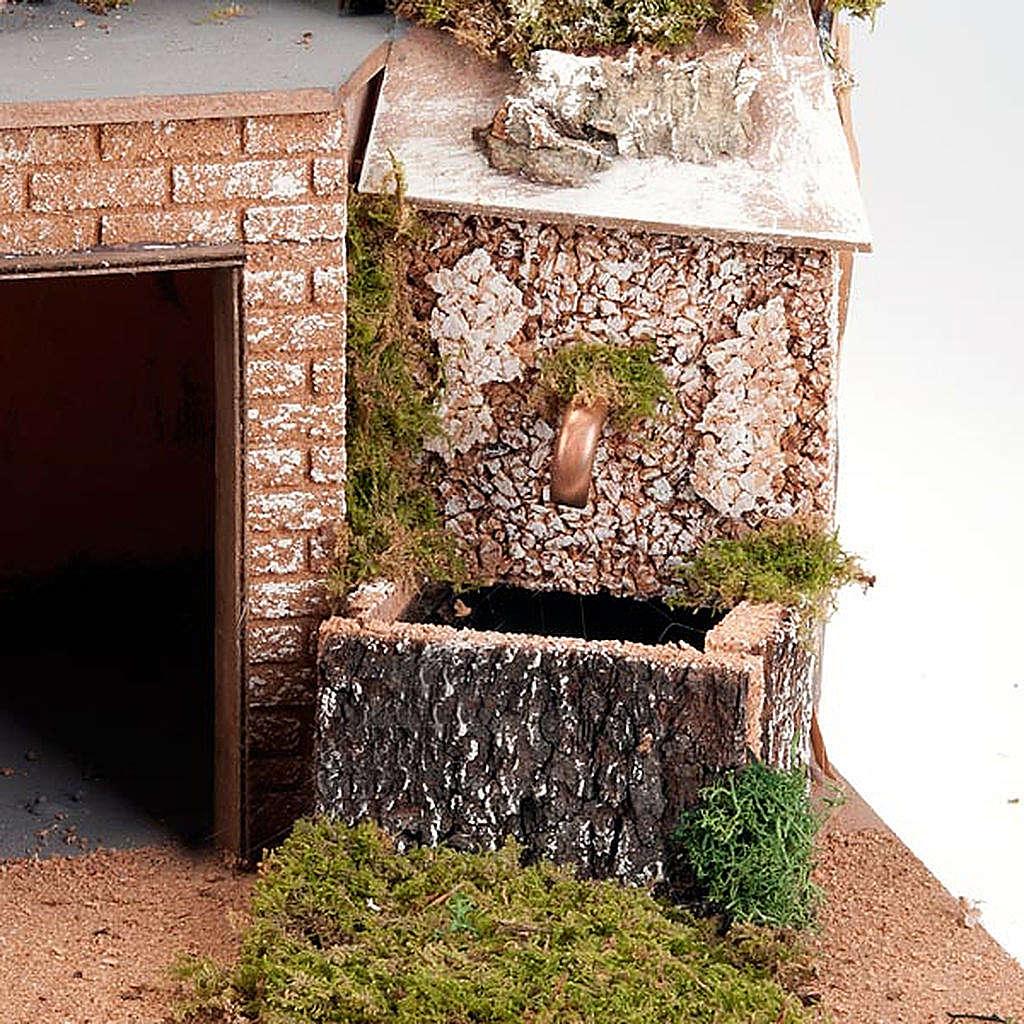 Grotta presepe borgo, fontana e scaletta 60X40X50 4