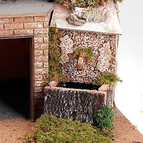 Grotta presepe borgo, fontana e scaletta 60X40X50 s2
