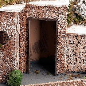 Grotta presepe borgo, fontana e scaletta 60X40X50 s3