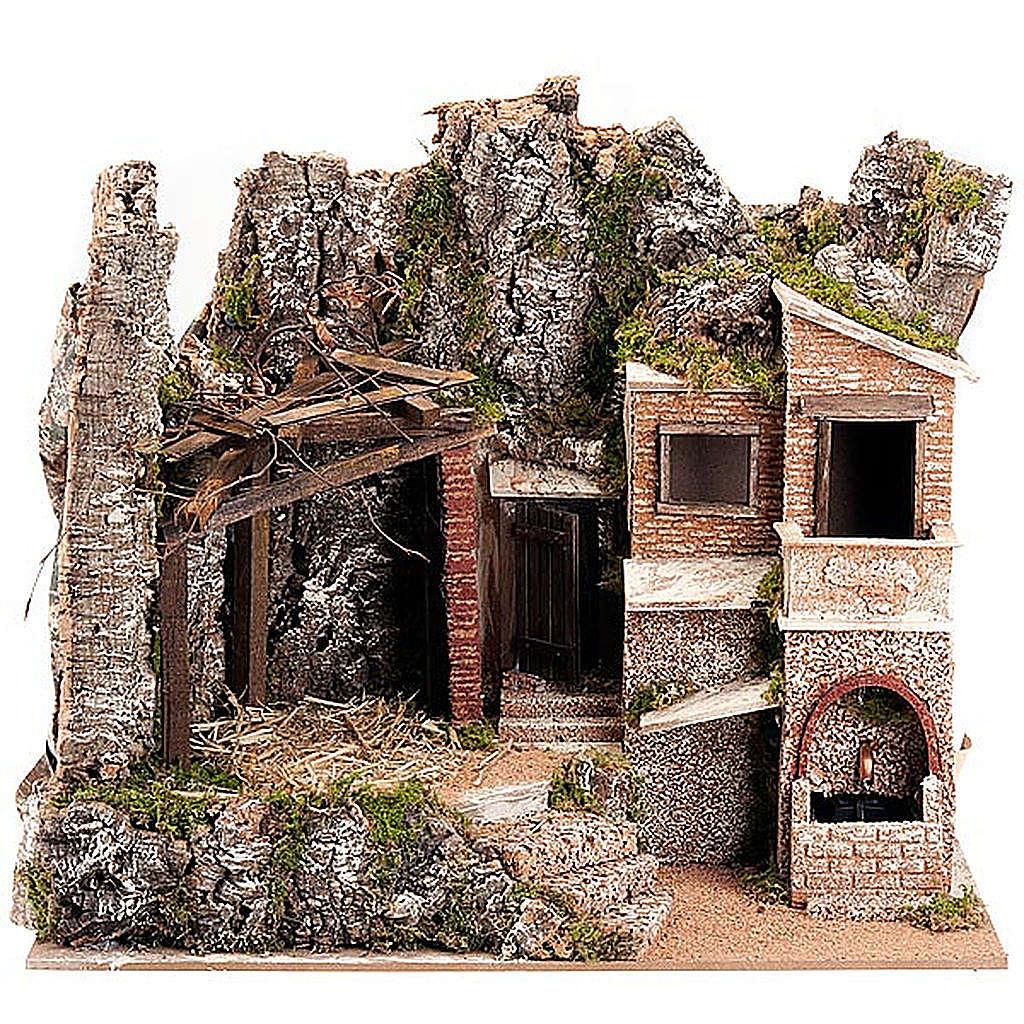 STOCK - Capanna presepe con borgo 50x60x40 cm 4