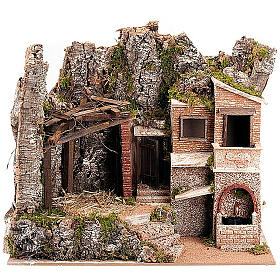 STOCK - Capanna presepe con borgo 50x60x40 cm s1