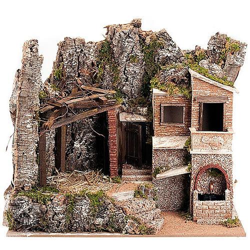 STOCK - Capanna presepe con borgo 50x60x40 cm 1