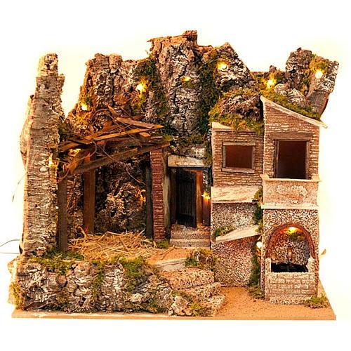 STOCK - Capanna presepe con borgo 50x60x40 cm 2