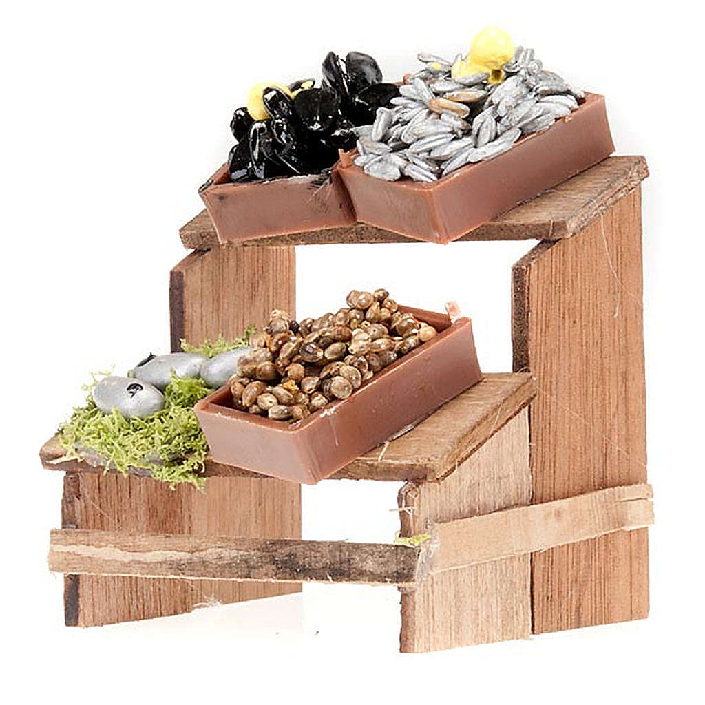 Nativity set accessory, Fish and mussel market stall 4