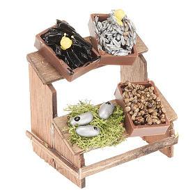 Żywność w miniaturze szopka: Stoisko do szopki 4 skrzynki ryby i małże