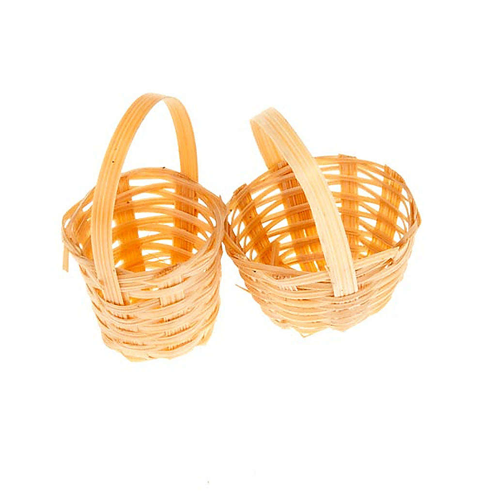 Nativity set accessory, set of 2 wicker baskets 4